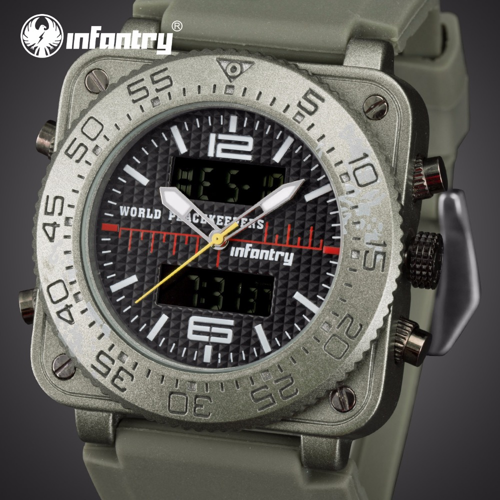 Analog Digital Military Square Tactical Army Watch For Men