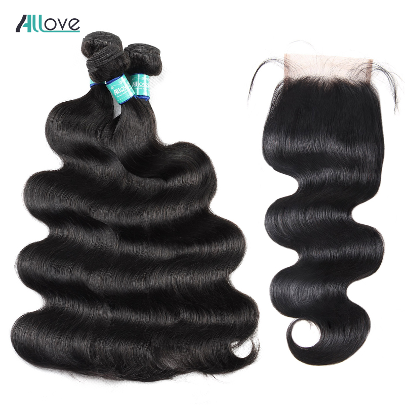 Allove Body Wave Bundles With Closure Malaysian Hair Bundles With Closure Double Drawn Remy Human Hair Bundles With Lace Closure-in 3/4 Bundles with Closure from Hair Extensions & Wigs    1