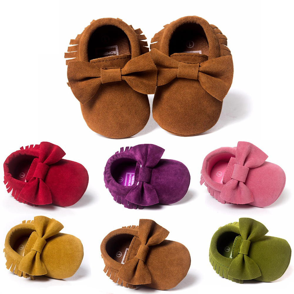 Baby sko PU læder Solid kvast Frostet, Butterfly-knude Newborns Moccasins toddler spædbarn Girl Boy First Walker