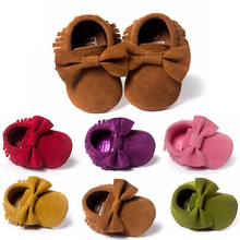Baby Shoes PU leather Solid tassel Frosted, Butterfly-knot Newborns Moccasins toddler infant Girl Boy First Walker
