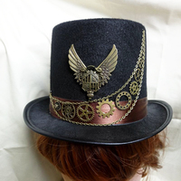 Vintage Steampunk Gear Chains Wings Floral Black Top Hat Punk Style Fedora Headwear Gothic Lolita Cosplay