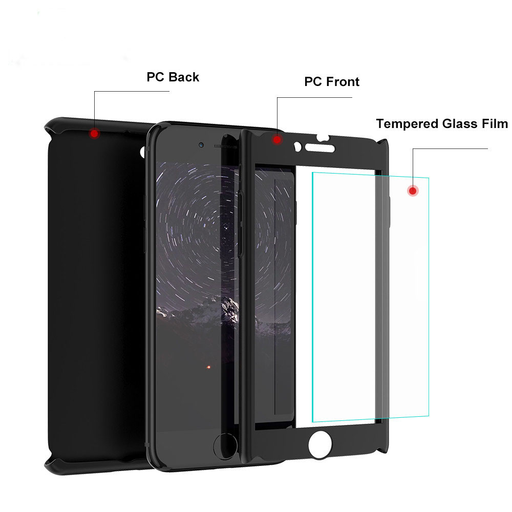 Pure color PC 360 Degree Full Cover Case For iPhone 6 6s 6p Cases wish Anti fall protection Tempered Glass 7 7p Phone Case IP 8