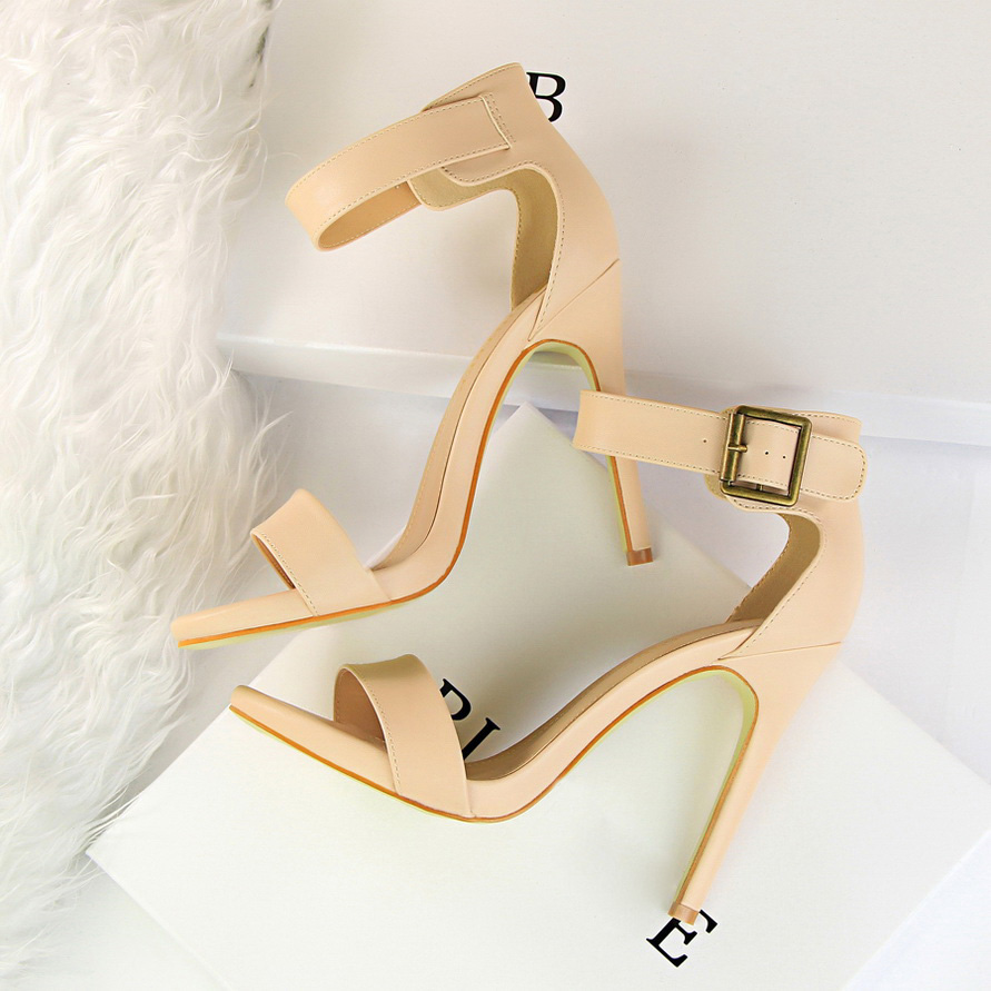 2019 Women Newest Classic 11cm High Heels Fetish Soft Leather Sandals Female Gladiator Summer Cheap Shoes Lady Nude Sexy Pumps