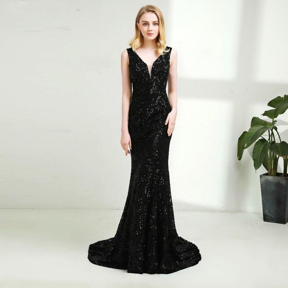 b68cef95c0767 BEPEITHY Vestido De Festa Seksi Yeni Tasarım V Yaka Siyah Sequines Balo  Elbise Uzun Mermaid Abiye