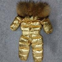 30 градусов детские комбинезоны из натурального меха енота Детские зимние штаны в целом снег одежда белая утка вниз для маленьких мальчиков