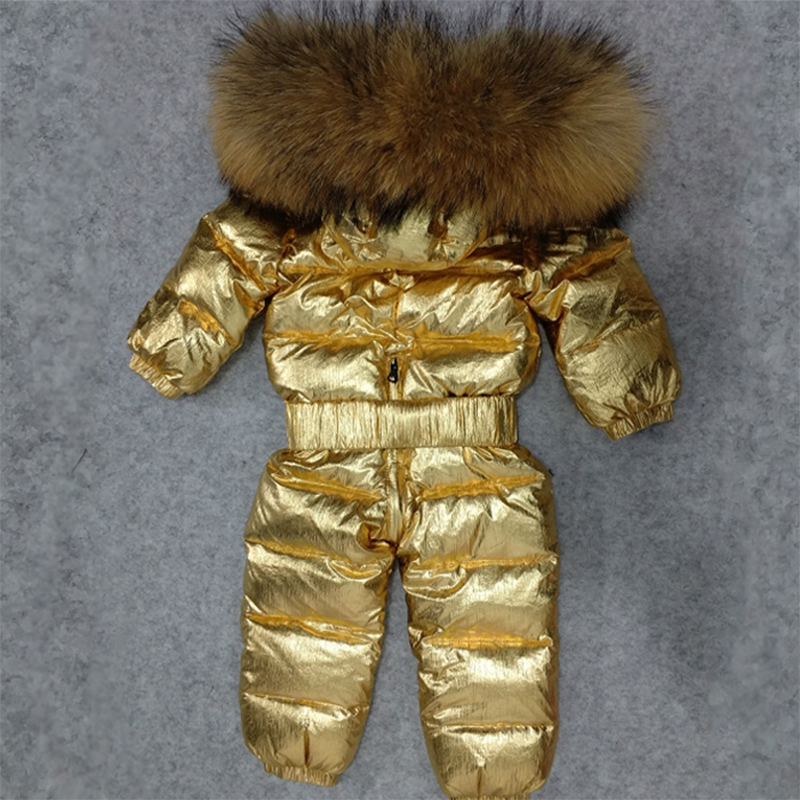 30 Degree Baby Snowsuits Real Raccoon Fur Kids Winter Overall Snow Wear White Duck Down Toddler Boys Girls Outwear Coat Z144