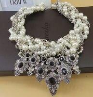 Min Order 9 Mix Order Fashion Elegent Black Gems Chain Chokers Chunky Big Statement Chunky Pearl