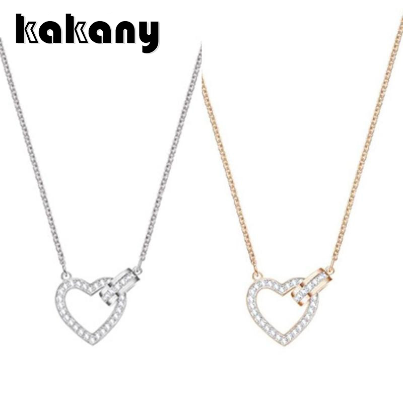 KAKANY Heart Newset Lovely Necklace Swarovsk Has Logo 100% Pure Silver Original Copy Factory Wholesale Free Mail Womens chain