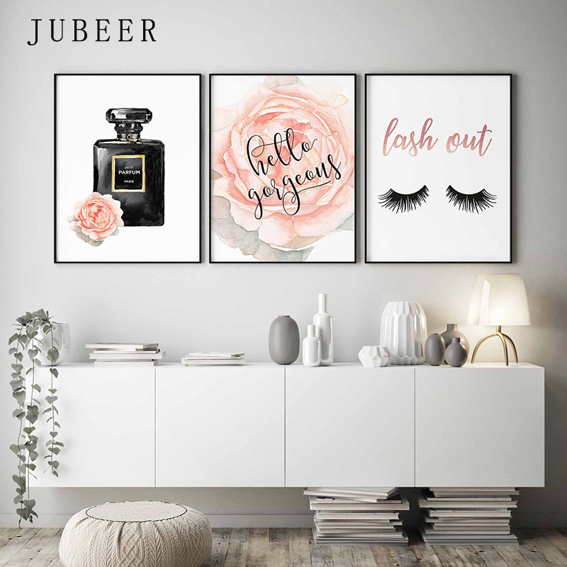 Decorative-Picture Perfume-Bottle Watercolor-Rose-Posters Prints-Lashes Wall-Art Girls Bedroom