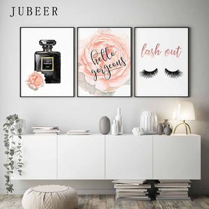 Nordic Perfume Bottle Fashion Wall Art Watercolor Rose Posters and Prints Lashes Decorative Picture for Girls Bedroom Decor(China)