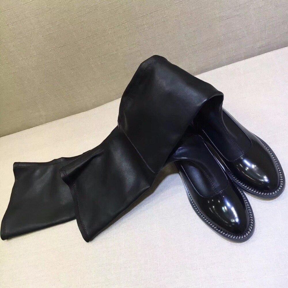 Cuero Rodilla Sobre As Botas De La Invierno 2018 Zapatos Caliente Otoño Metal Ocasionales Diseñador Altas Pics Cadena Mujer YaAxX8zqw