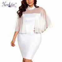 Nemidor Women Vintage Turtleneck Mesh Patchwork Sexy Dress Transparent Plus Size Knee Length Party Bodycon Dress