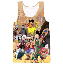Classic Anime Dragon Ball Z/One Piece Tank tops Kid Goku/Luffy/Cute Chopper/Naruto/Zoro Paparazzi 3D print casual Vest Tank tops
