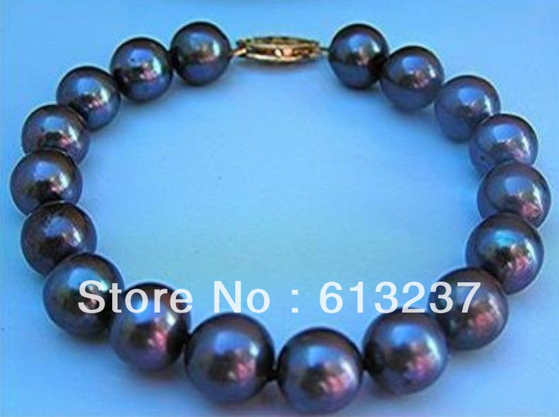 "2Rows 10-12mm Natural tahitian black pearl bracelet 7.5/"" AA"