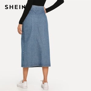 Image 5 - SHEIN fente avant bouton Up Denim jupe droite décontracté taille moyenne femmes Morden Lady Street porter jupes 2019 été Slim jupe