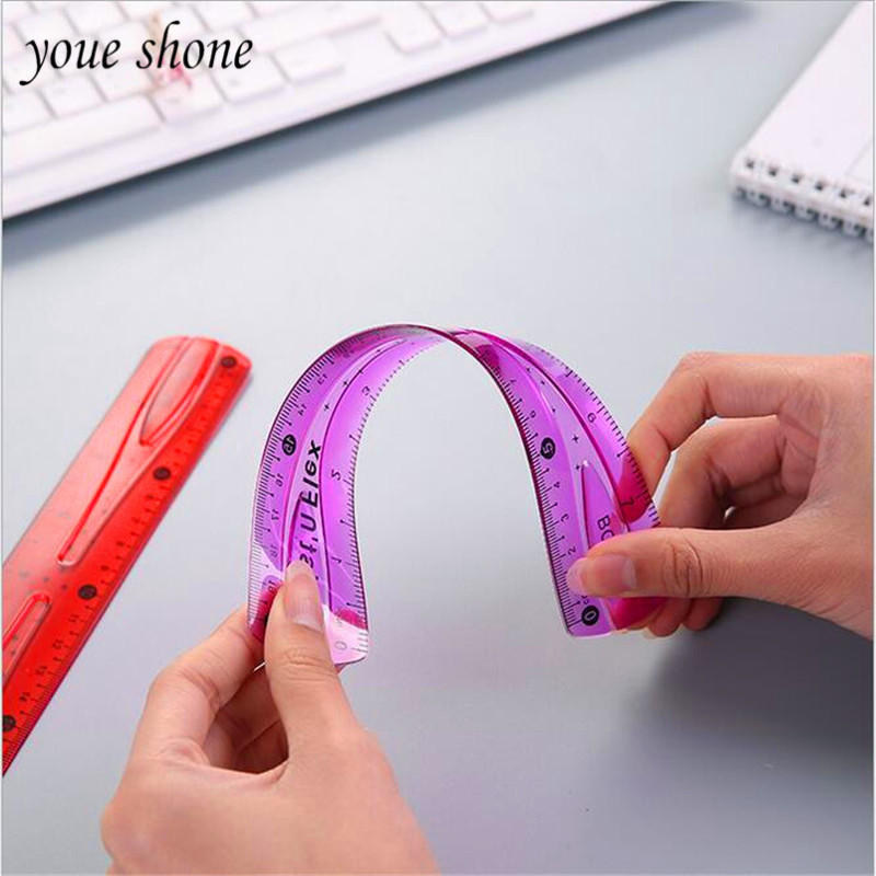 YOUE SHONE 20CM15CM 1PCS Soft Ruler Student Stationery Office Soft Straight Rulers Soft Rubber Ruler For Student Drawing Tool