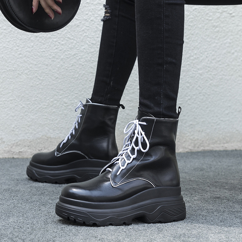 Women Ankle Boots Platform Flat Genuine Leather Boots Women Black White Gray Wedges Punk Boots Lace Up Fashion Ladies Shoes bzbfsky fashion 2018 lace up wedges platform casual shoes woman patchwork womens winter spring black white red ankle women boots