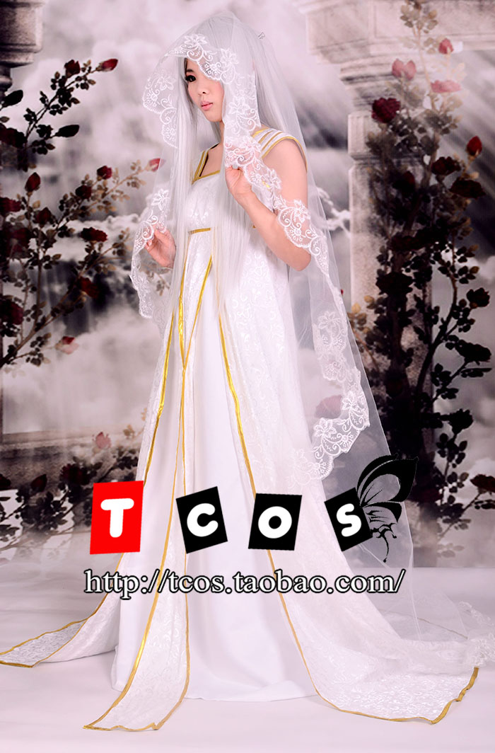 Brdwn Fate Zero Fate Stay Night de Femmes Irisviel Von Einzbern Cosplay Costume De Mariage Robe Roulé Robe de Soirée