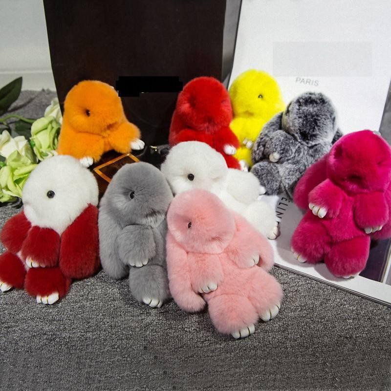 18cmRex rabbit Furs Keychain Pendant Bag Car Charm Cute Mini Rabbit ToyDoll Real Fur Keychains Women Bag KeychainK015-llightblue