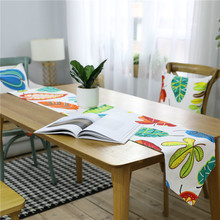 Countryside Green Plant Leaf Print Table Runner Flag Modern Fashion Tablecloth Tea Cover for Wedding Party Home Decor