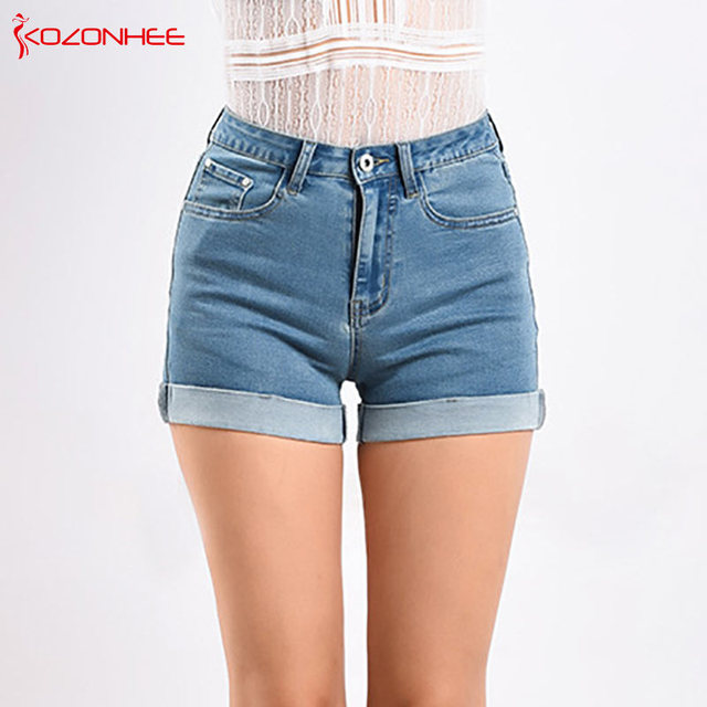 dd5f5751c3 Light blue Crimping Women Denim Shorts With high Waist Stretch skinny  Female Summer Shorts For Women's jeans #088