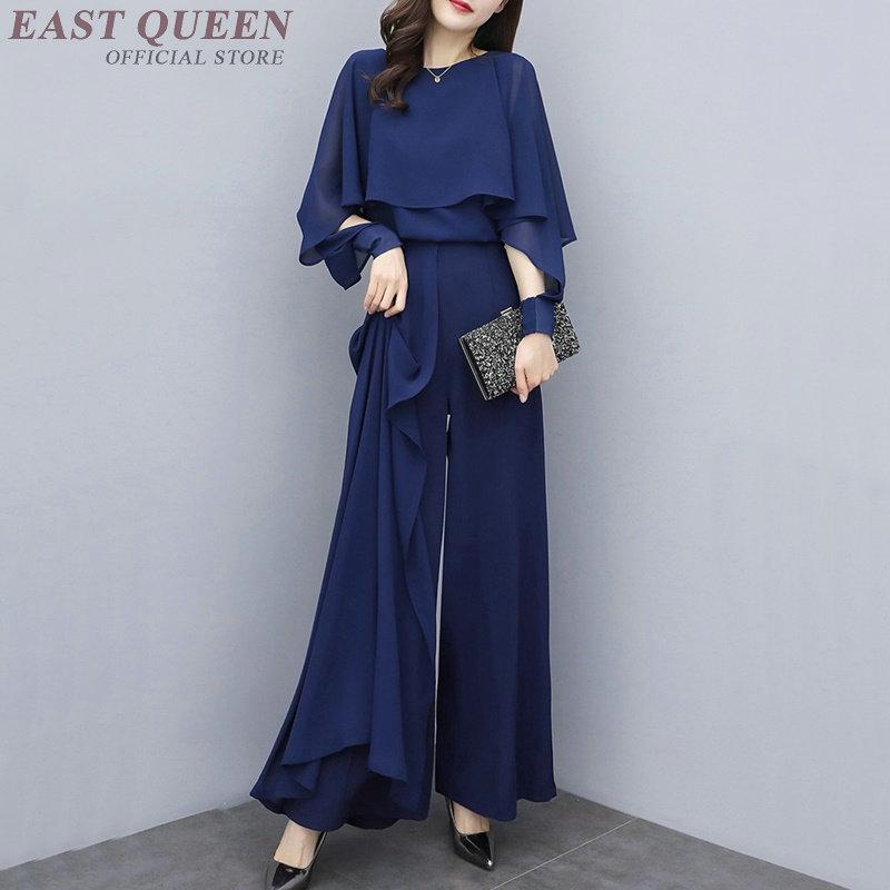 Nouveauté bleu marine femmes pantalon taille haute tenue coréen été 2019 printemps deux pièces élégant femme pantalon et Blouse ensemble DD2240