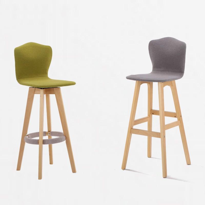 Solid Wood Bar Chair High Back Chair European Bar Stool Creative