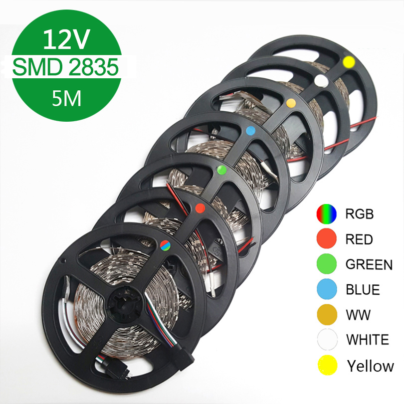 RGB LED strip light 5m 60LEDs/m SMD 2835 LED strip DC 12V IP65 Waterproof flexible Tape White Warm White Red Green Blue Yellow 300x3528 smd led 3500k warm white light flexible strip 5 meter dc 12v