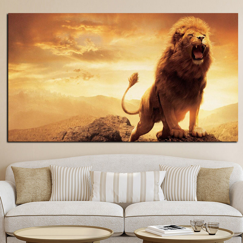 Print Abstract African Lion on Mountain Oil Painting on Canvas Animal Pop Art Wall Picture Poster for Living Room Cuadros Decor (2)