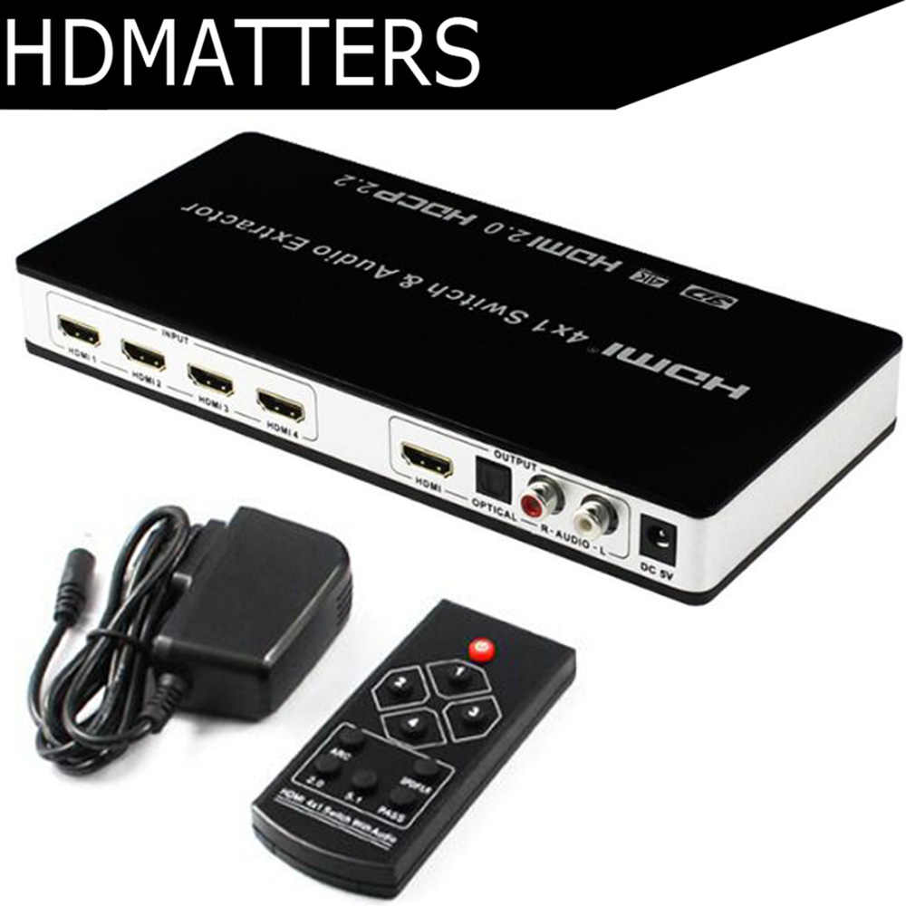 HDMI 2,0 Schalter 4 K 60 HZ Switcher HDMI 4 in 1 HDR ARC HDMI 2,0 audio extractor digitale toslink audio + L/R stereo audio HDCP 2,2