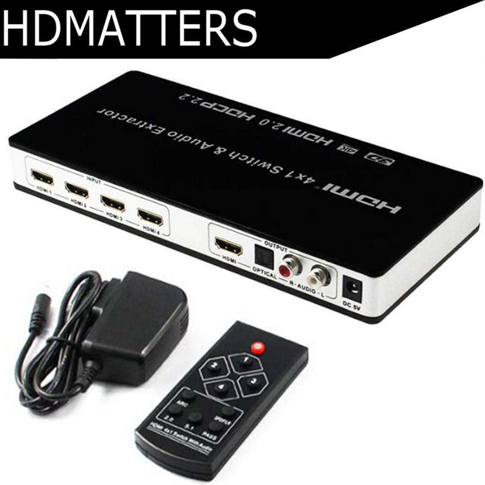 HDMI 2.0 Switch 4K 60HZ Switcher HDMI  4 in 1 HDR ARC HDMI 2.0 audio extractor digital toslink audio+L/R stereo audio HDCP 2.2