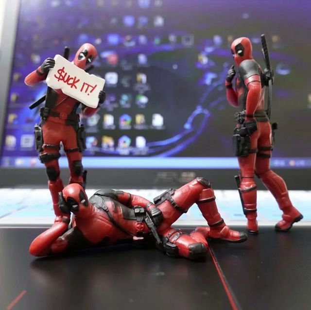 3 Carro de Escritório Em Casa mesa Decoração Deadpool Marvel 8 cm X-MAN Engraçado Bonito Brinquedos Figura Modelo