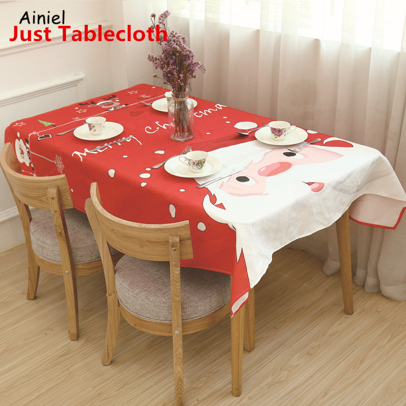 New Year Christmas Tablecloth Kitchen Dining Table Oilcloth Waterproof Santa Claus Ornaments Table Decoration Party Home Costume