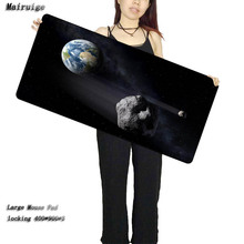 Mairuige Planet Earth And Stone High Speed New Large Black Lockedge Mousepad Size for 400*900*3mm Version Gaming Mousepads