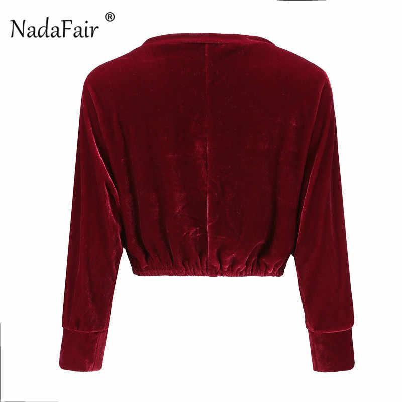 Nadafair krótkie jesienne aksamitne bluzy O szyi trzy czwarte kobiet bluza niebieski czerwony Harajuku geometryczne bluzy kobiet