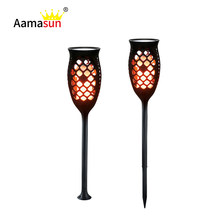 Flame Fire Flickering Light LED Solar Torch Light LED Solar Lamp for Lawn Wall Garden Landscape Waterproof Outdoor Lighting()