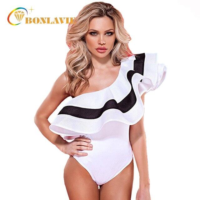 a59b8f63971 Ruffle Women s Swimsuit 2017 One Piece Swimwear Sexy One Shoulder Off Beach Bathing  Suit White Black