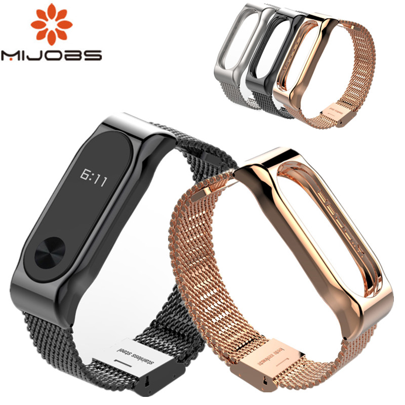 Mijobs bracelet For Xiaomi mi band 2 Metal Strap strap Screwless Stainless Steel Bracelet Wristbands Replace MiBand 2 strap