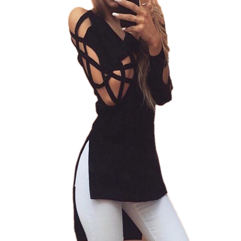 2018 Sexy V Neck Long Sleeve T Shirts Women Fashion Irregular Hem T-shirt Hollow out Casual Split Tees Loose Tops Black M0395