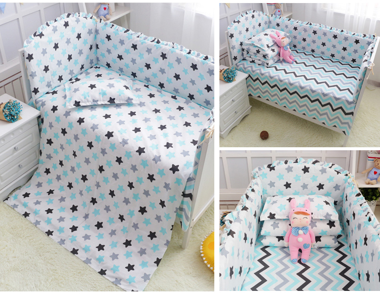 6Pcs Baby Crib Cotton Bumpers Bedding Set Kids Bedding Sets Newborn Baby Bed Set Crib Bumper Baby Bumper Cot Set for Infant american baby company crib starter set