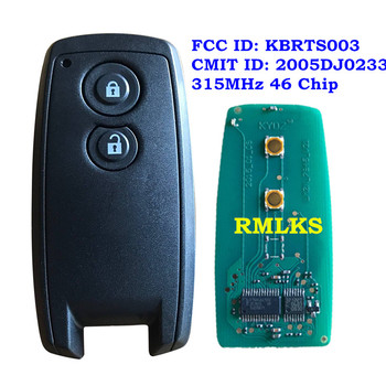 For Suzuki SX4 Grand Vitara Swift Car 2 Buttons Key Fob Smart Key 315mhz ID46 Chip FCC ID: KBRTS003 Uncut Insert Key Bllade