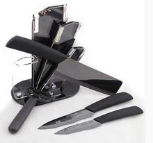 kingart ceramic knife set zirconia kitchen knifeCeramic black mirror blade knife set With knife holder 5pcs/set