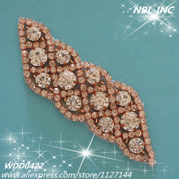 (30 pieces) Wholesale hand beaded sewing rose gold crystal rhinestone applique patch iron on for dress or DIY headband WDD0422-R