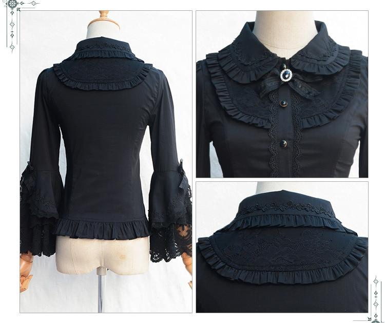 2019 Victorian Lolita Weiß / Schwarz Bluse Damen Lace Long Flare - Damenbekleidung - Foto 5