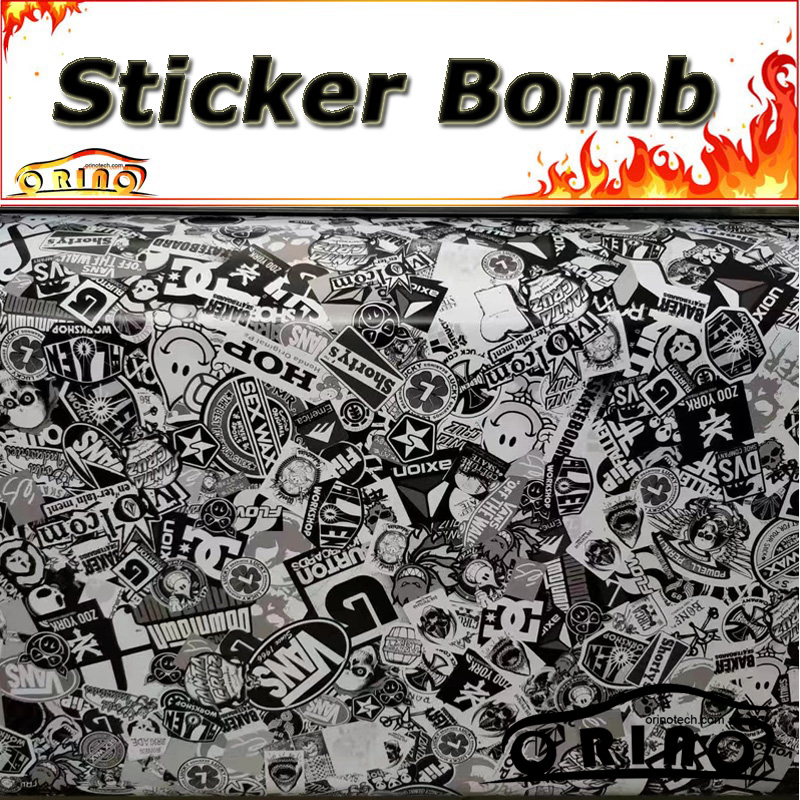 Car Styling Black Grey Sticker Bomb Wrap Vinyl Motorcycle Truck Vehicle Body Covers Wraps With