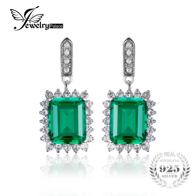 JewelryPalace Luxury 10.8ct Created Nano Russia Emerald Dangle Earrings For Women Solid 925 Sterling Silver Wedding Fine Jewelry