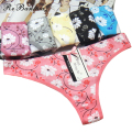 Yunmengni Flower Printed Women Underwear Cotton New Arrival Brief Sexy G String Thong Panties Plus Size T-Pants Tangas wholesale