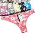 Yunmengni flor impresa de las mujeres del algodón de la nueva llegada breve sexy tanga tanga underwear bragas más el tamaño camisetas pantalones tangas venta al por mayor