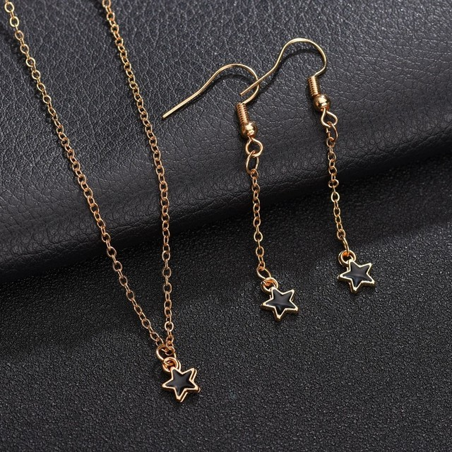 3PCS Earrings Necklace Star...