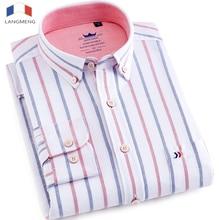Langmeng 100% cotton oxford shirt men dress shirts office business social mens striped shirt Brand Clothing Long Sleeve Camisa